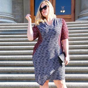 London Times mixed print midi dress
